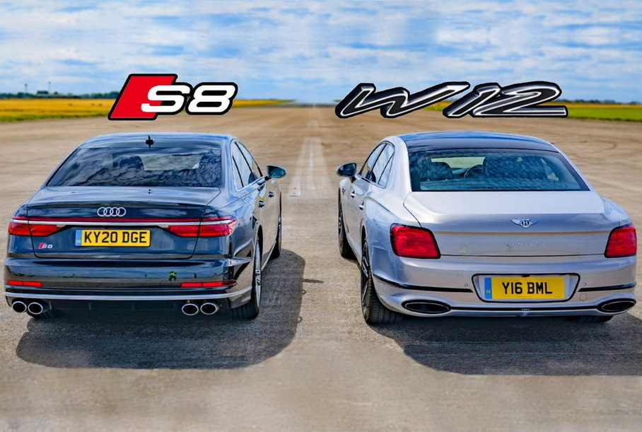 Дрэг-гонка: новая Audi S8 против Bentley Flying Spur